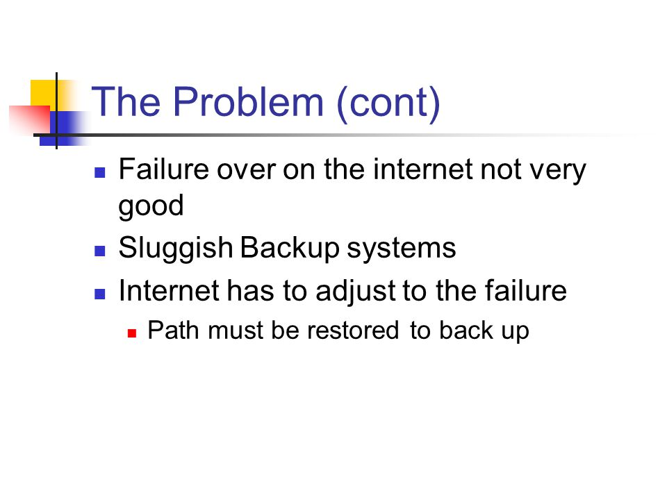 The Problem (cont) Failure over on the internet not very good Sluggish Backup systems Internet has to adjust to the failure Path must be restored to back up