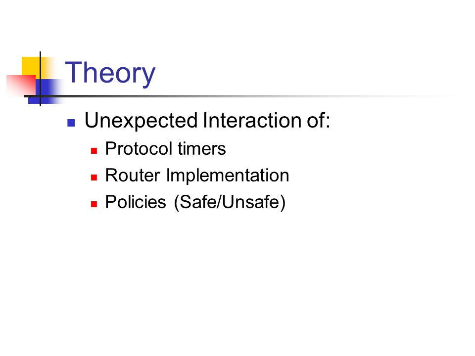 Theory Unexpected Interaction of: Protocol timers Router Implementation Policies (Safe/Unsafe)