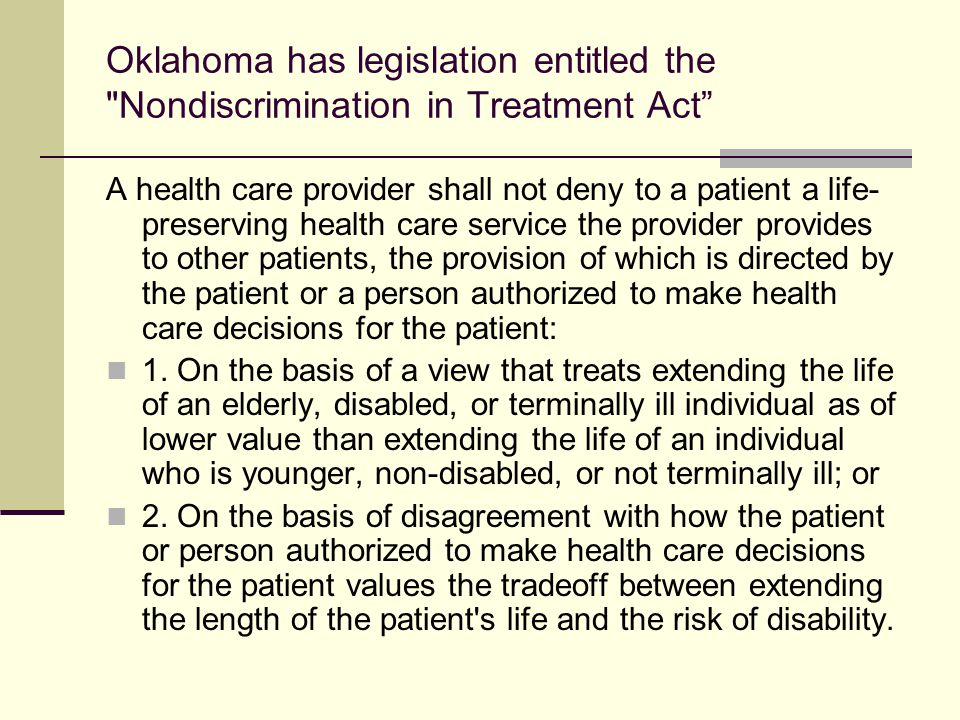 NDY Texas Proposal for Ethics Committee Accountability Composition: At least one quarter non- hospital staff Must include members of both disability and aging advocacy organizations An independent oversight committee to adjudicate when individuals or families are in conflict with decision of ethics committee Slogan: End the UNethics Committees