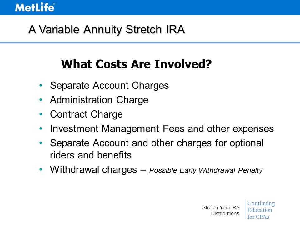 Continuing Education for CPAs Stretch Your IRA Distributions A Variable Annuity Stretch IRA What Costs Are Involved.