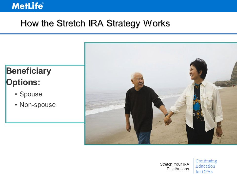 Continuing Education for CPAs Stretch Your IRA Distributions How the Stretch IRA Strategy Works Beneficiary Options: Spouse Non-spouse