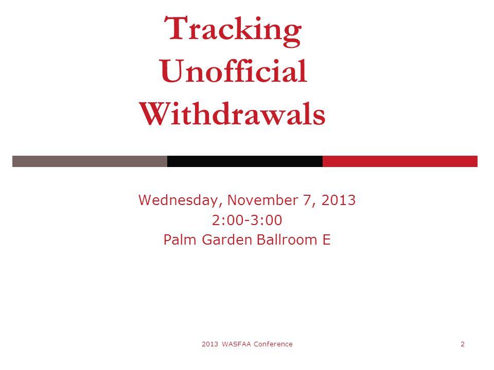 Wednesday, November 7, 2013 2:00-3:00 Palm Garden Ballroom E 2013 WASFAA Conference2