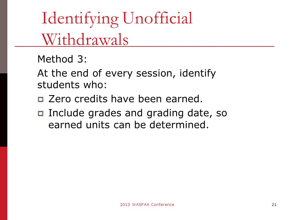 Method 3: At the end of every session, identify students who:  Zero credits have been earned.