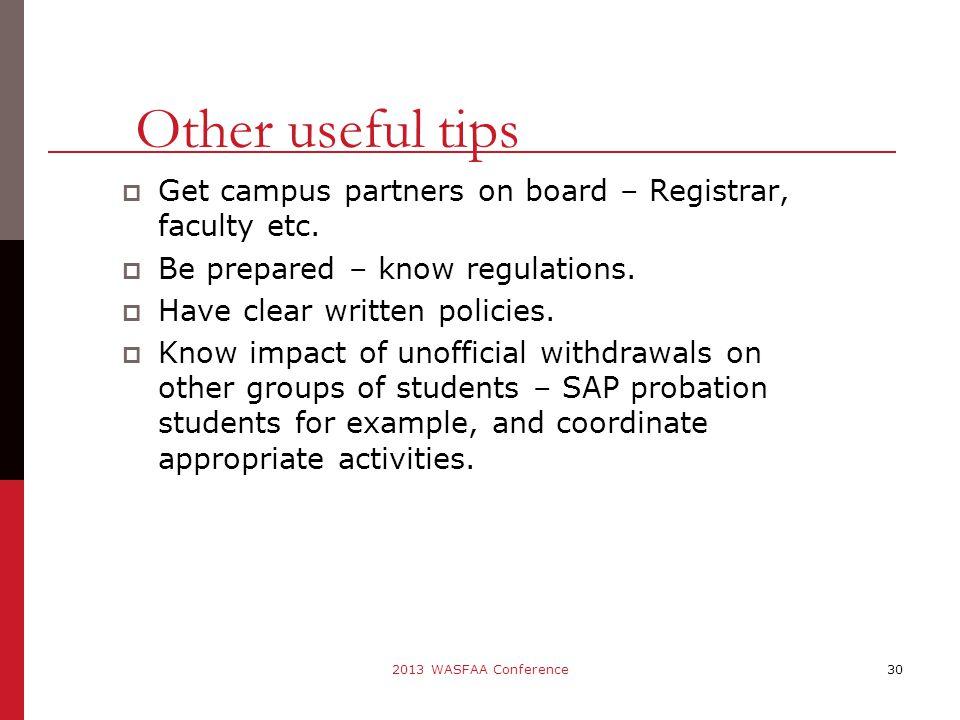  Get campus partners on board – Registrar, faculty etc.