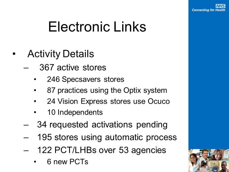 Electronic Links Activity Details – 367 active stores 246 Specsavers stores 87 practices using the Optix system 24 Vision Express stores use Ocuco 10 Independents –34 requested activations pending –195 stores using automatic process –122 PCT/LHBs over 53 agencies 6 new PCTs