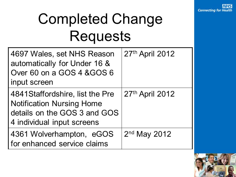Completed Change Requests 4697 Wales, set NHS Reason automatically for Under 16 & Over 60 on a GOS 4 &GOS 6 input screen 27 th April 2012 4841Staffordshire, list the Pre Notification Nursing Home details on the GOS 3 and GOS 4 individual input screens 27 th April 2012 4361 Wolverhampton, eGOS for enhanced service claims 2 nd May 2012