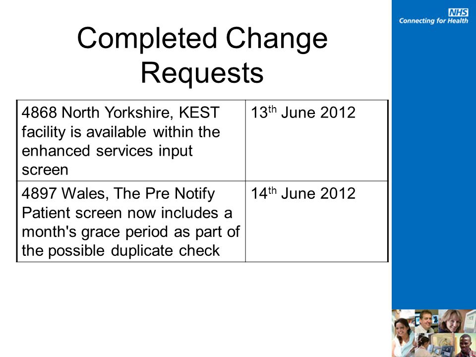Completed Change Requests 4868 North Yorkshire, KEST facility is available within the enhanced services input screen 13 th June 2012 4897 Wales, The Pre Notify Patient screen now includes a month s grace period as part of the possible duplicate check 14 th June 2012