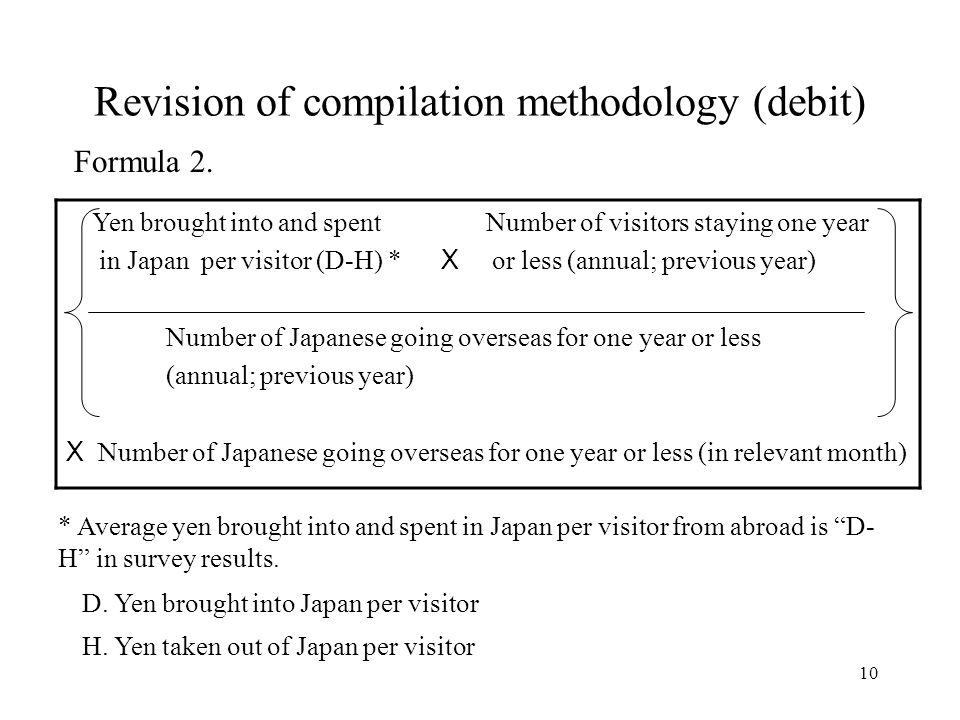 10 Revision of compilation methodology (debit) Yen brought into and spent Number of visitors staying one year in Japan per visitor (D-H) * X or less (annual; previous year) Number of Japanese going overseas for one year or less (annual; previous year) X Number of Japanese going overseas for one year or less (in relevant month) * Average yen brought into and spent in Japan per visitor from abroad is D- H in survey results.