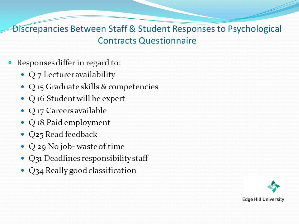 Discrepancies Between Staff & Student Responses to Psychological Contracts Questionnaire Responses differ in regard to: Q 7 Lecturer availability Q 15