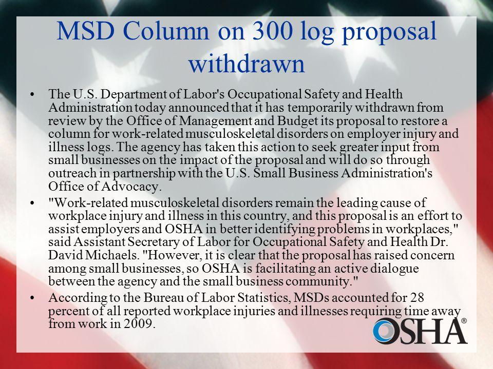 MSD Column on 300 log proposal withdrawn The U.S.
