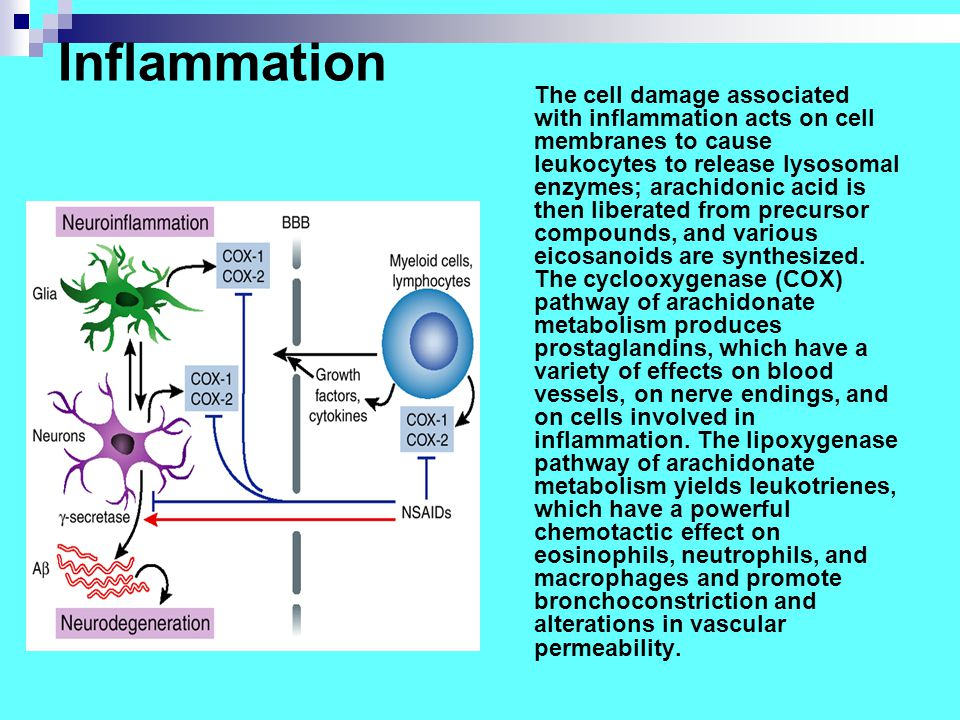 Inflammation The cell damage associated with inflammation acts on cell membranes to cause leukocytes to release lysosomal enzymes; arachidonic acid is then liberated from precursor compounds, and various eicosanoids are synthesized.