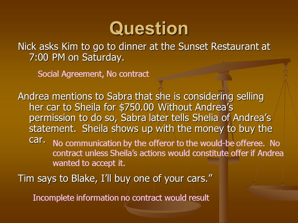 Question Nick asks Kim to go to dinner at the Sunset Restaurant at 7:00 PM on Saturday.