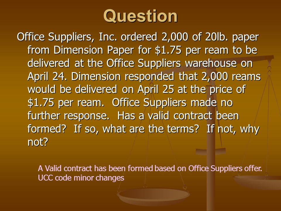 Question Office Suppliers, Inc.ordered 2,000 of 20lb.