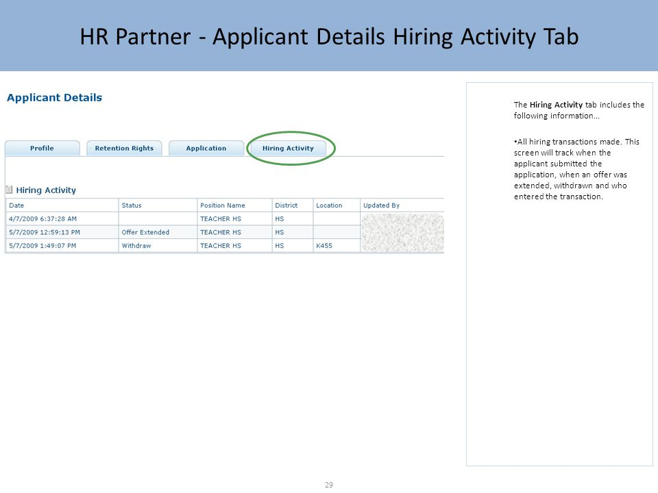HR Partner - Applicant Details Hiring Activity Tab The Hiring Activity tab includes the following information… All hiring transactions made.
