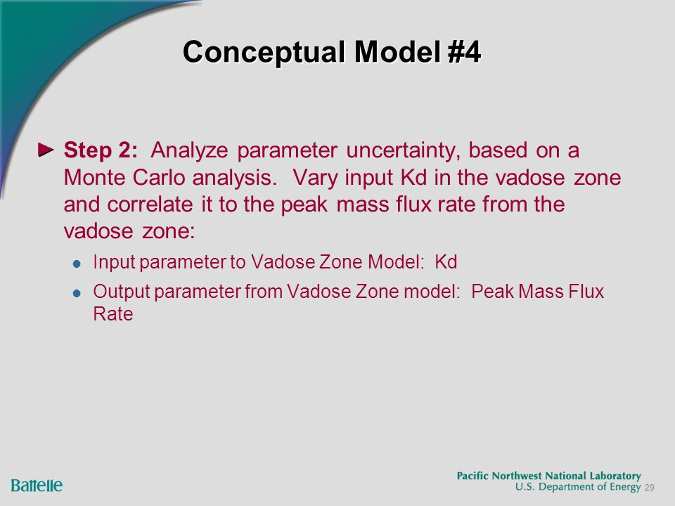 29 Conceptual Model #4 Step 2: Analyze parameter uncertainty, based on a Monte Carlo analysis.