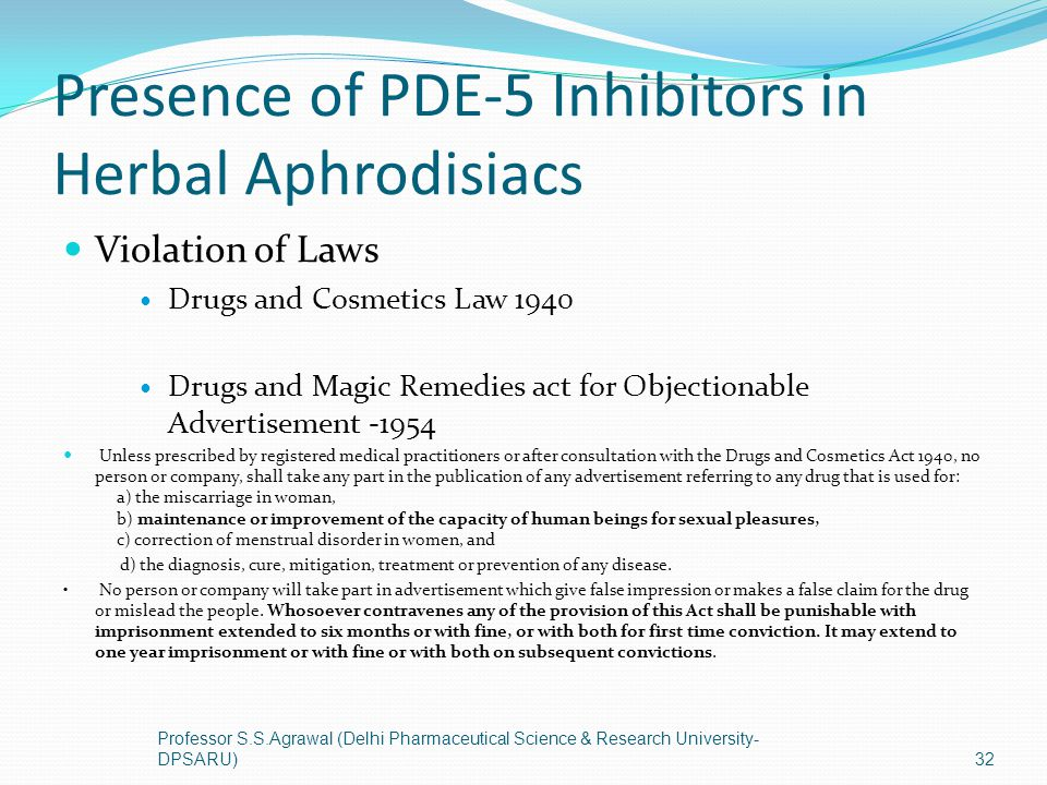 Presence of PDE-5 Inhibitors in Herbal Aphrodisiacs Violation of Laws Drugs and Cosmetics Law 1940 Drugs and Magic Remedies act for Objectionable Adve