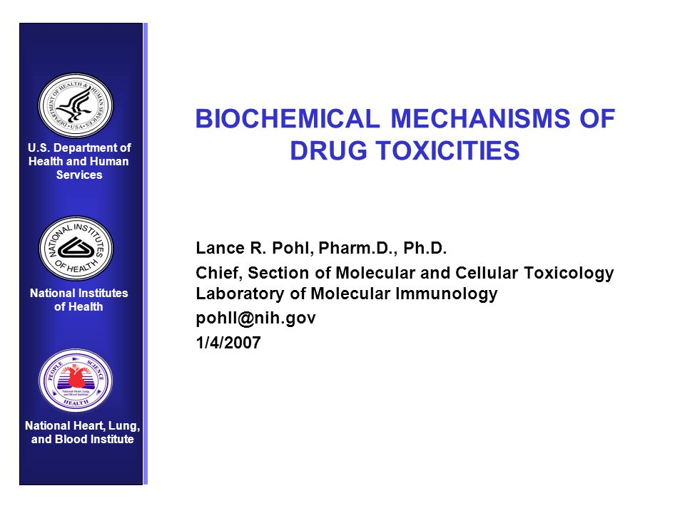 BIOCHEMICAL MECHANISMS OF DRUG TOXICITIES Lance R. Pohl, Pharm.D., Ph.D. Chief, Section of Molecular and Cellular Toxicology Laboratory of Molecular I