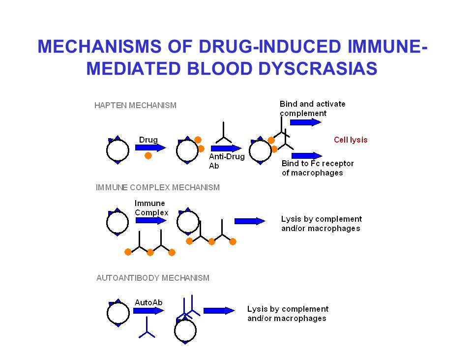 MECHANISMS OF DRUG-INDUCED IMMUNE- MEDIATED BLOOD DYSCRASIAS