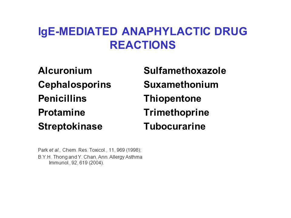 IgE-MEDIATED ANAPHYLACTIC DRUG REACTIONS Alcuronium Cephalosporins Penicillins Protamine Streptokinase Park et al., Chem.