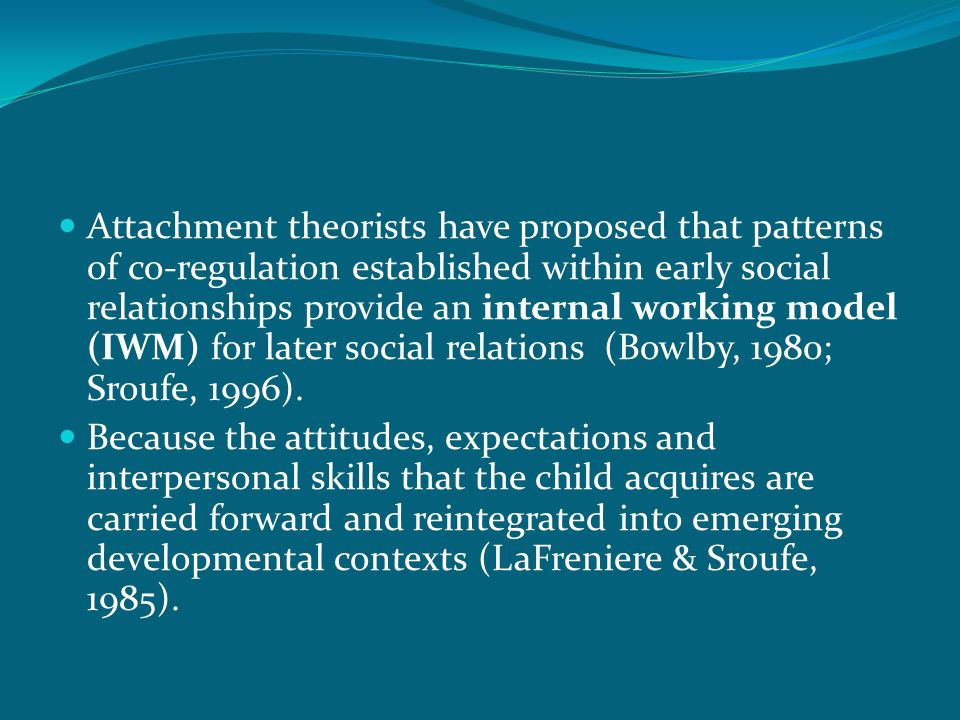 Attachment theorists have proposed that patterns of co-regulation established within early social relationships provide an internal working model (IWM) for later social relations (Bowlby, 1980; Sroufe, 1996).