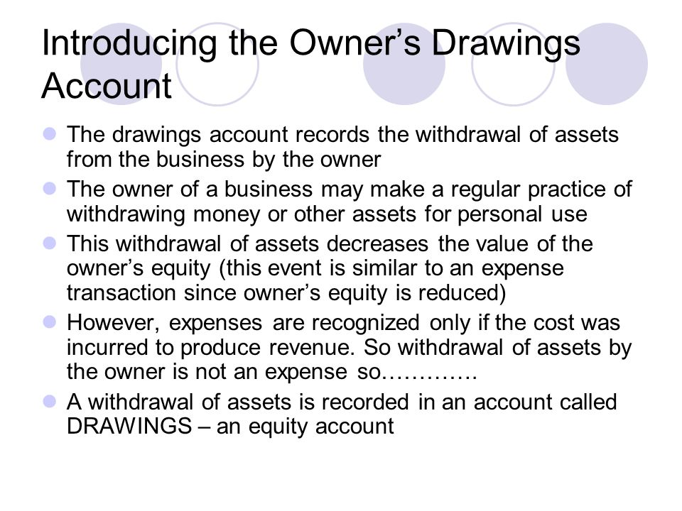 Introducing the Owner's Drawings Account The drawings account records the withdrawal of assets from the business by the owner The owner of a business