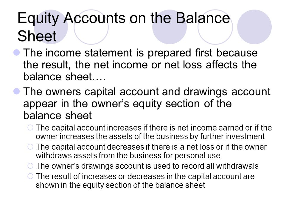 Equity Accounts on the Balance Sheet The income statement is prepared first because the result, the net income or net loss affects the balance sheet….