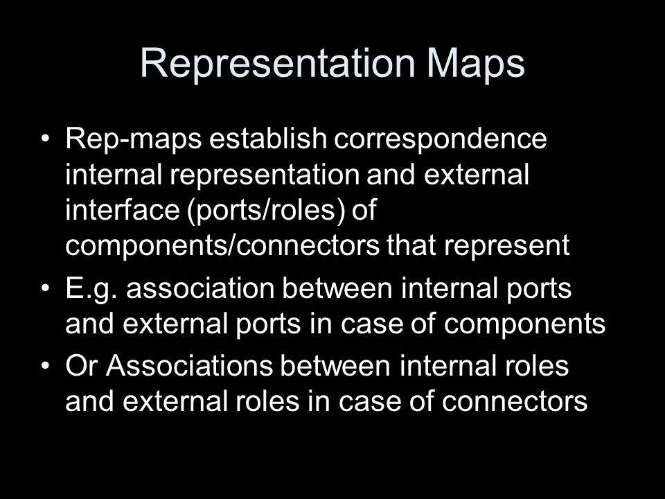 Representation Maps Rep-maps establish correspondence internal representation and external interface (ports/roles) of components/connectors that repre