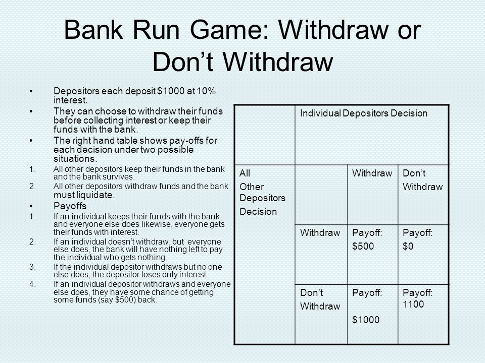 Bank Run Game: Withdraw or Don't Withdraw Depositors each deposit $1000 at 10% interest.