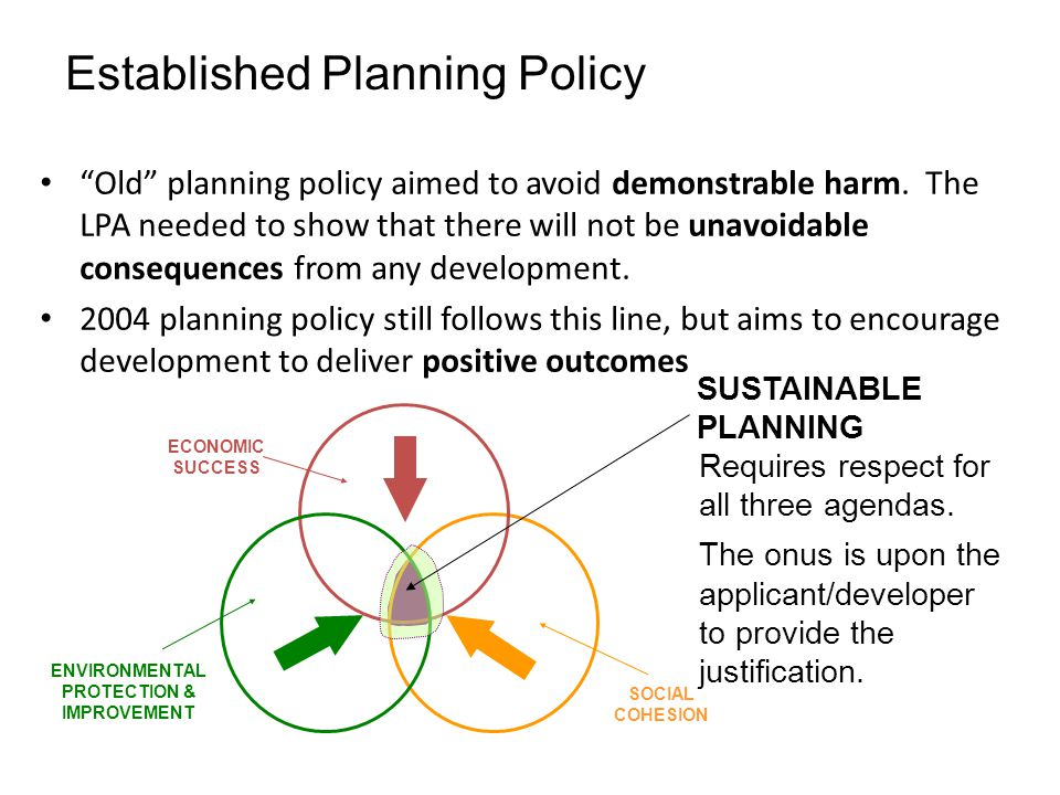 Old planning policy aimed to avoid demonstrable harm.