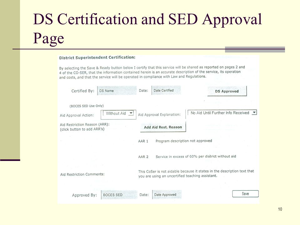 10 DS Certification and SED Approval Page