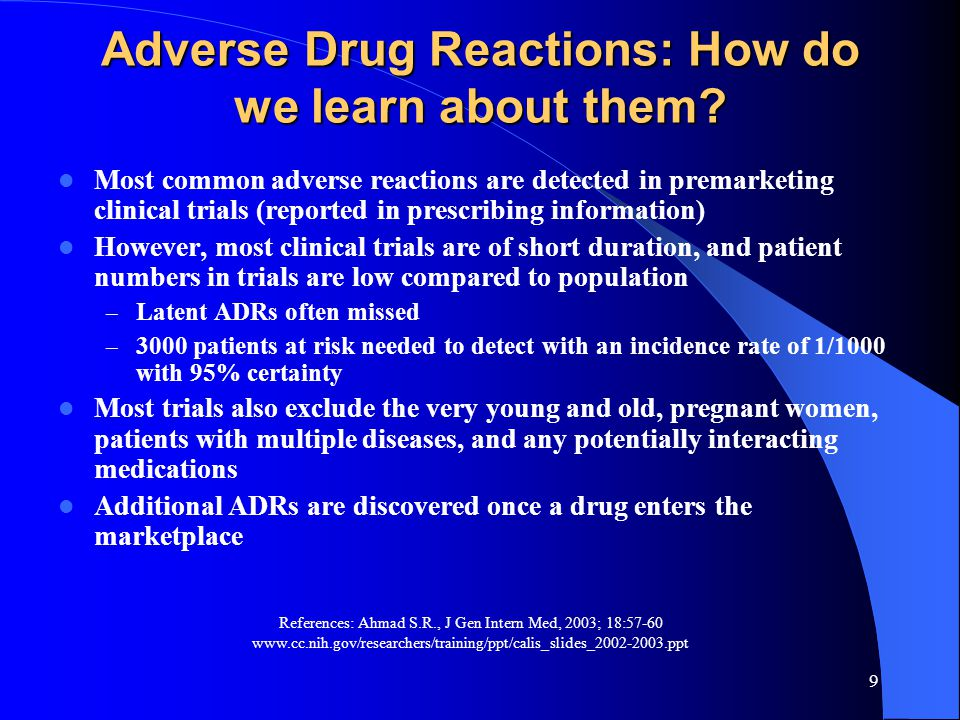 10 Types of Drug Reactions: Nonimmunologic Nonimmunologic Predictable Pharmacologic side effectDry mouth from antihistamines Secondary pharmacologic side effect Thrush while taking antibiotics Drug toxicityHepatotoxicity from methotrexate Drug-drug interactionsSeizure from theophylline while taking erythromycin Drug overdoseSeizure from excessive lidocaine (Xylocaine) Unpredictable PseudoallergicAnaphylactoid reaction after radiocontrast media IdiosyncraticHemolytic anemia in a patient with G6PD deficiency after primaquine therapy IntoleranceTinnitus after a single, small dose of aspirin G6PD = glucose-6-phosphate dehydrogenase.