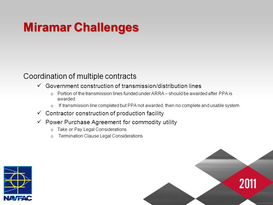 Miramar Challenges Coordination of multiple contracts Government construction of transmission/distribution lines o Portion of the transmission lines f