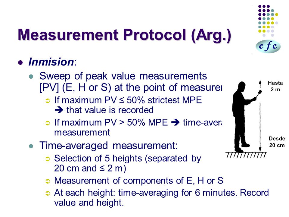 Measurement Protocol (Arg.) Inmision: Sweep of peak value measurements [PV] (E, H or S) at the point of measurement:  If maximum PV ≤ 50% strictest MPE  that value is recorded  If maximum PV > 50% MPE  time-averaged measurement Time-averaged measurement:  Selection of 5 heights (separated by 20 cm and ≤ 2 m)  Measurement of components of E, H or S  At each height: time-averaging for 6 minutes.