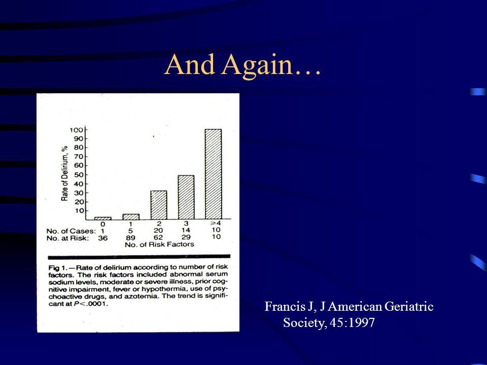 And Again… Francis J, J American Geriatric Society, 45:1997