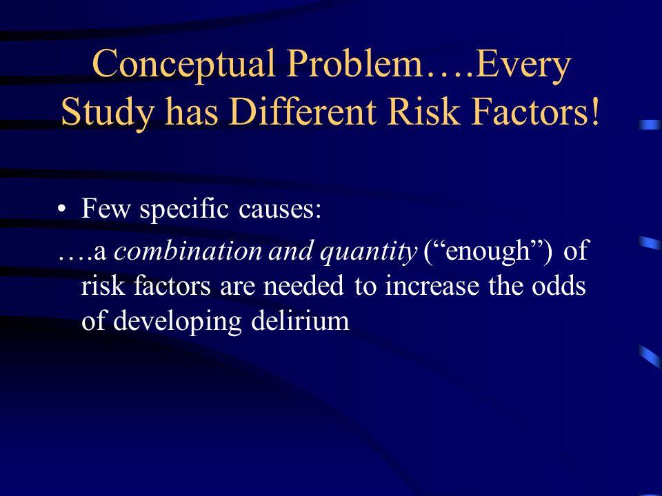Conceptual Problem….Every Study has Different Risk Factors.