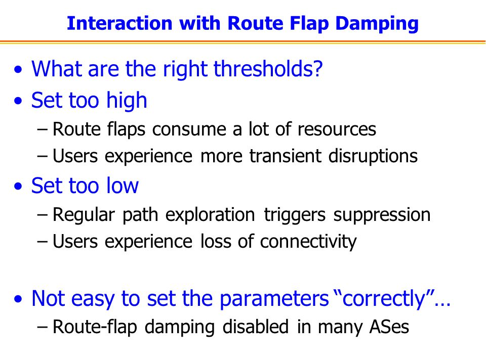Interaction with Route Flap Damping What are the right thresholds? Set too high –Route flaps consume a lot of resources –Users experience more transie