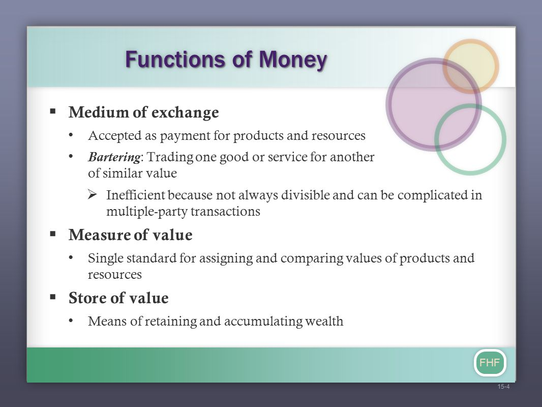 FHF Characteristics of Money  Acceptability  Divisibility  Portability  Stability  Durability  Difficulty to counterfeit 15-5