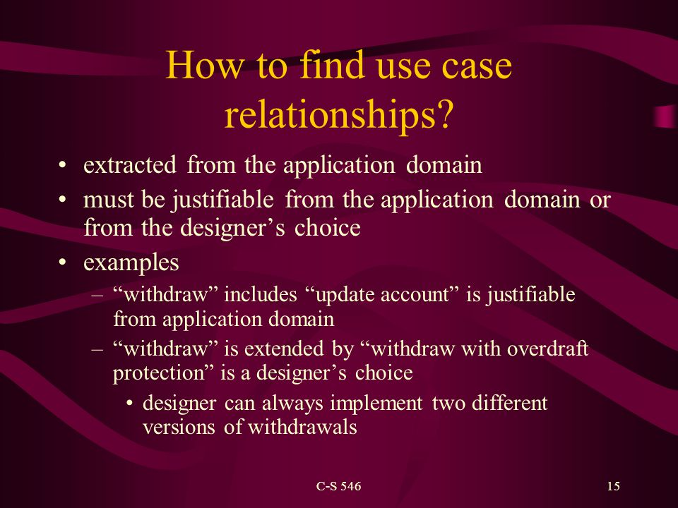 C-S 54615 How to find use case relationships.
