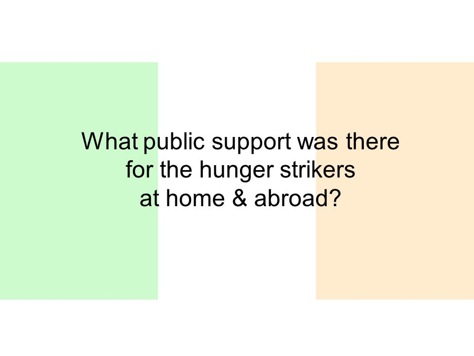 What public support was there for the hunger strikers at home & abroad?