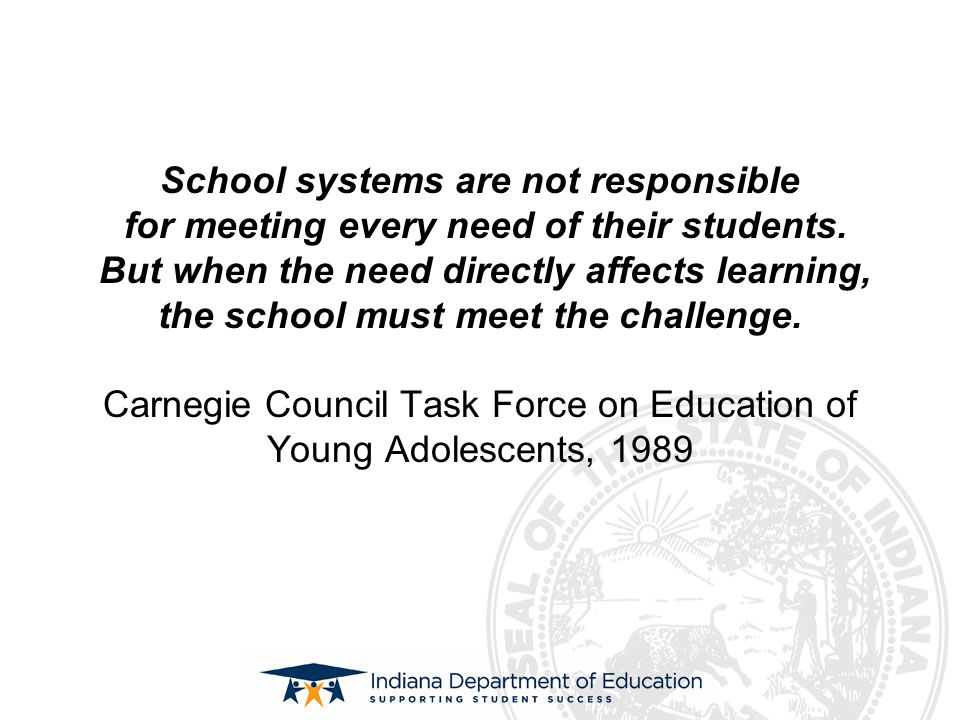 School systems are not responsible for meeting every need of their students. But when the need directly affects learning, the school must meet the cha
