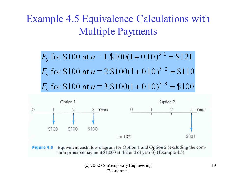 (c) 2002 Contemporary Engineering Economics 19 Example 4.5 Equivalence Calculations with Multiple Payments