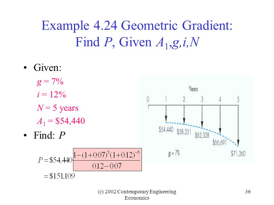 (c) 2002 Contemporary Engineering Economics 36 Example 4.24 Geometric Gradient: Find P, Given A 1,g,i,N Given: g = 7% i = 12% N = 5 years A 1 = $54,440 Find: P
