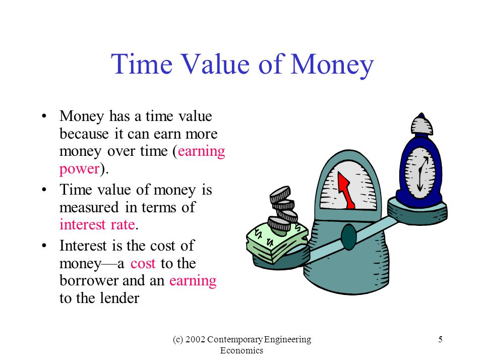 (c) 2002 Contemporary Engineering Economics 5 Time Value of Money Money has a time value because it can earn more money over time (earning power).