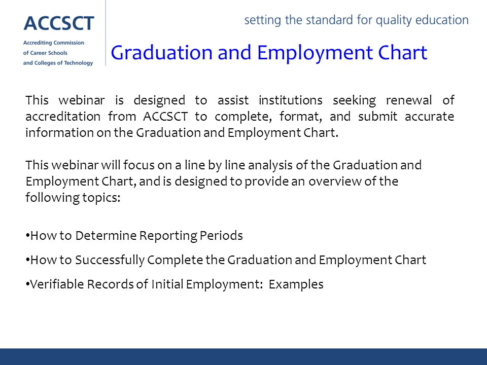 This webinar is designed to assist institutions seeking renewal of accreditation from ACCSCT to complete, format, and submit accurate information on the Graduation and Employment Chart.