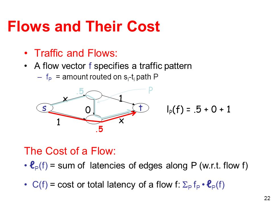 22 Flows and Their Cost Traffic and Flows: A flow vector f specifies a traffic pattern –f P = amount routed on s i -t i path P The Cost of a Flow: ℓ P (f) = sum of latencies of edges along P (w.r.t.