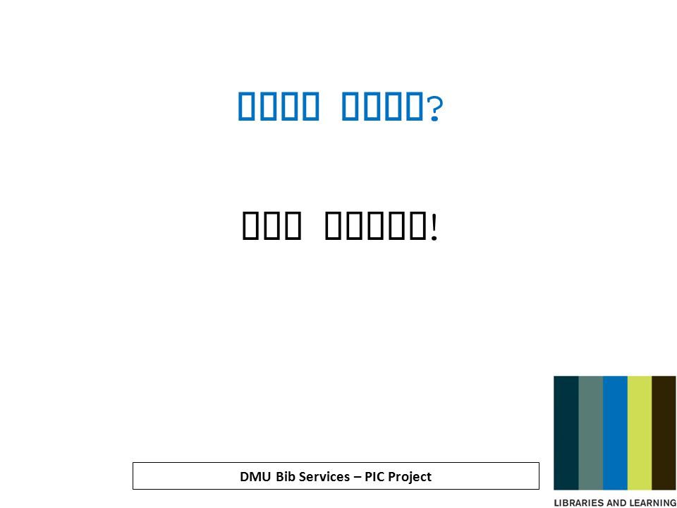 DMU Bib Services – PIC Project What next Who knows !