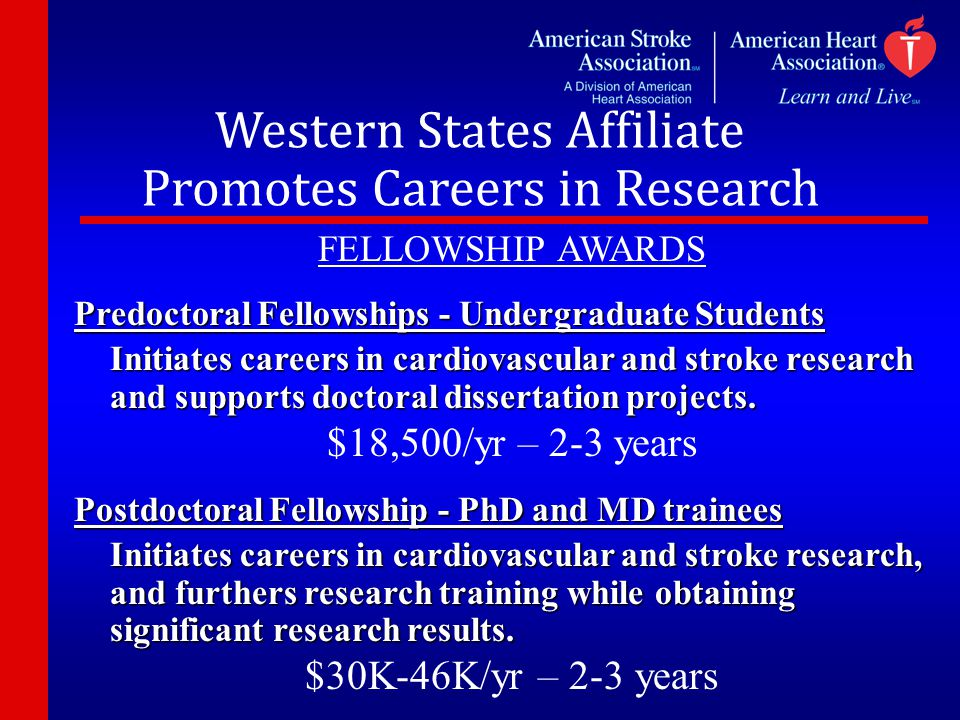 Western States Affiliate Promotes Careers in Research FELLOWSHIP AWARDS Predoctoral Fellowships - Undergraduate Students Initiates careers in cardiova