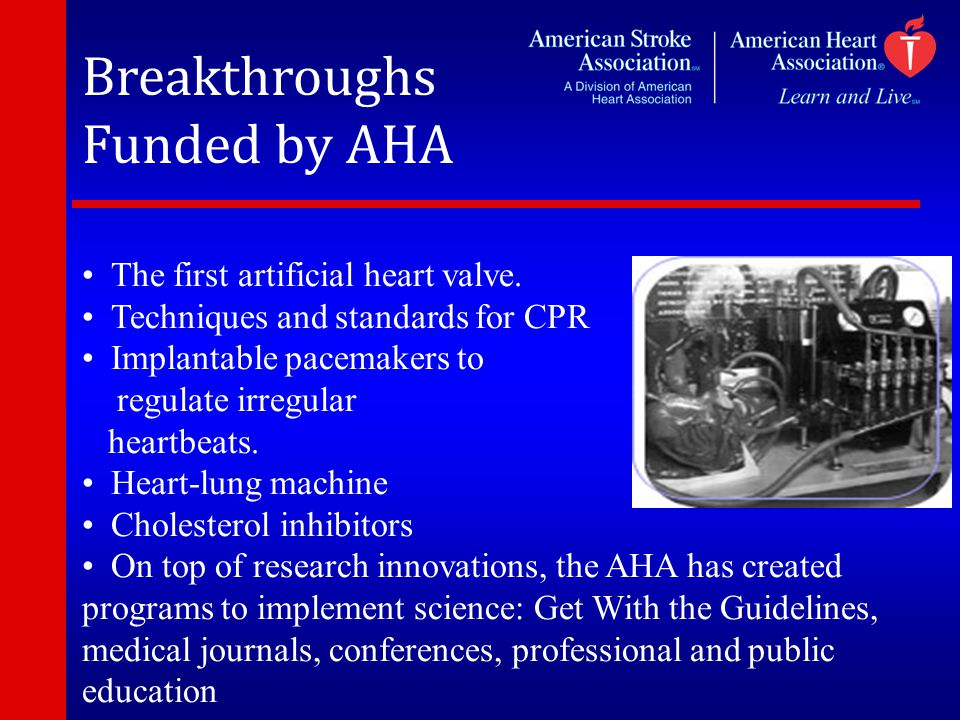 Breakthroughs Funded by AHA The first artificial heart valve.