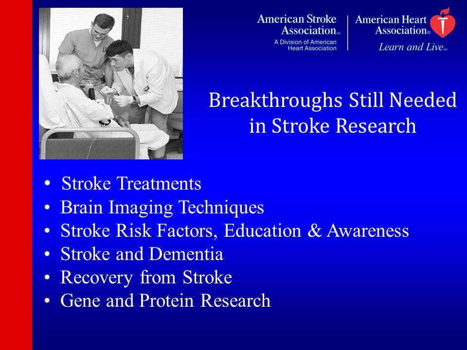 Breakthroughs Still Needed in Stroke Research Stroke Treatments Brain Imaging Techniques Stroke Risk Factors, Education & Awareness Stroke and Dementi