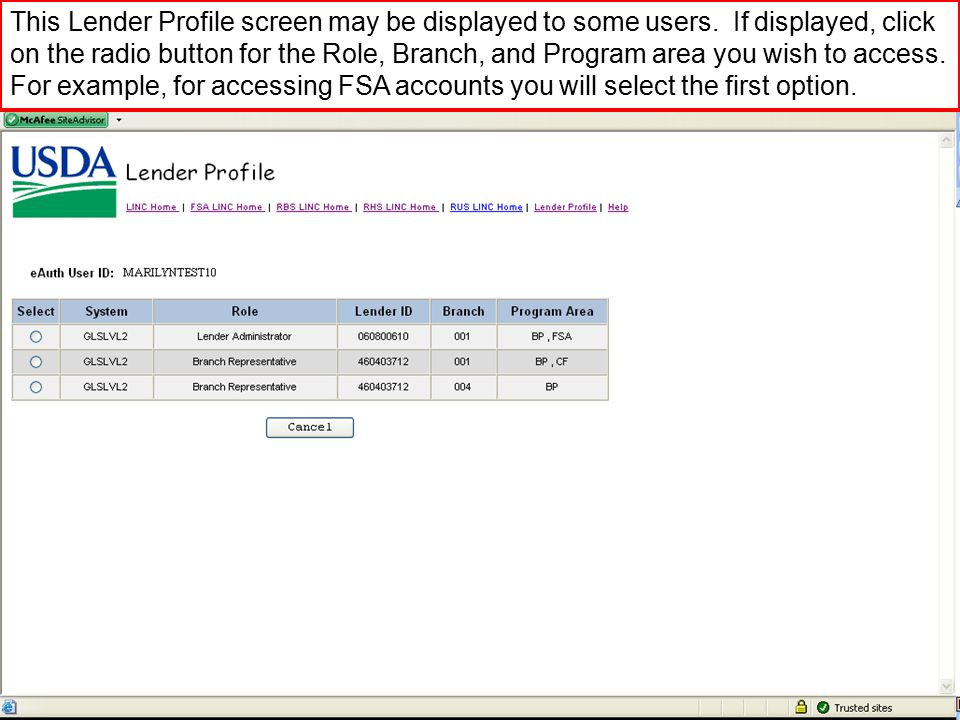 This Lender Profile screen may be displayed to some users.